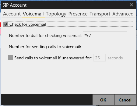 X-Lite Voicemail Settings